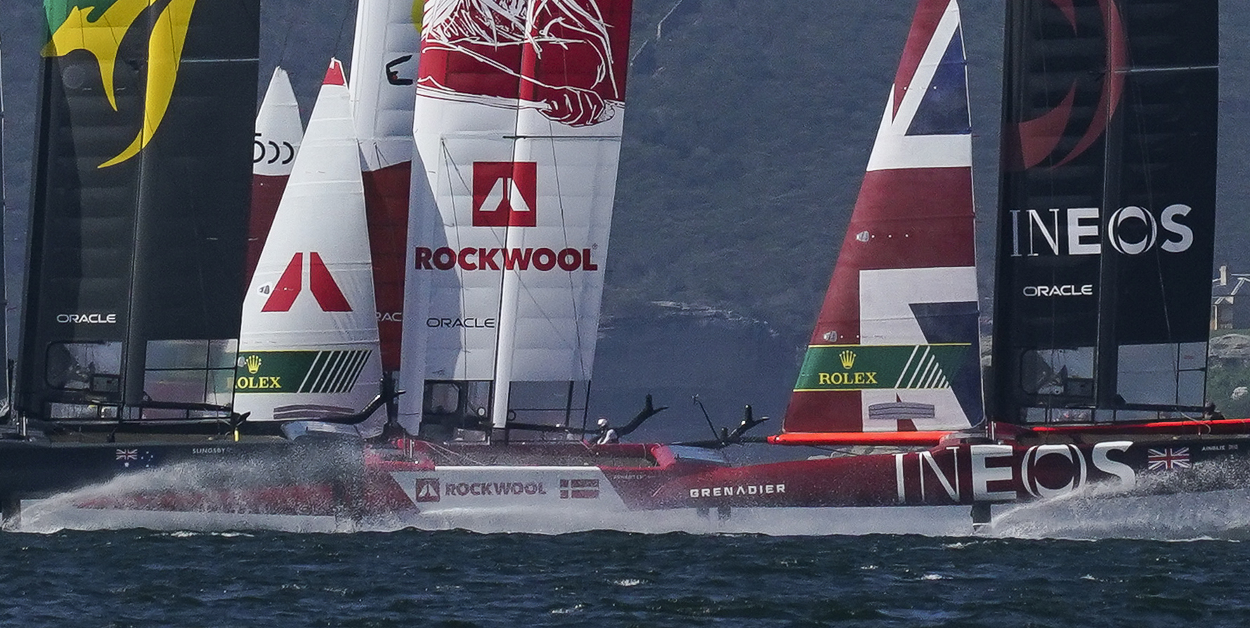 SailGP F50 catamarans racing head to head