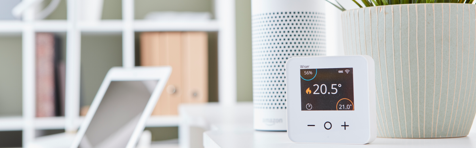 amazon alexa header banner with a wiser smart room thermostat
