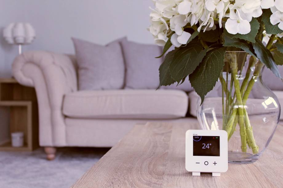 Wiser Smart Thermostat On Table