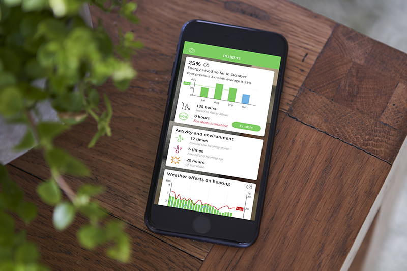 Energy savings and insights report on Wiser App on mobile