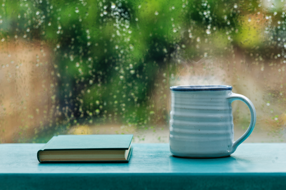 A view outside on a rainy day