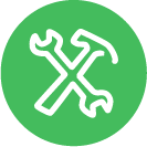 Crossed green tools icon